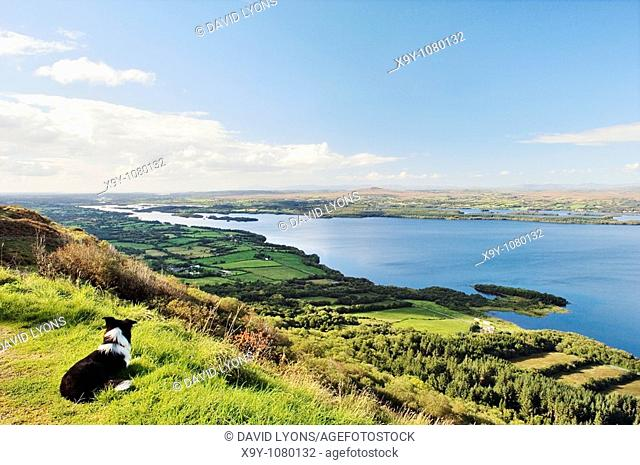 West over Lower Lough Erne from Cliffs of Magho County Fermanagh near Beleek Enniskillen toward Donegal Bay  Ireland
