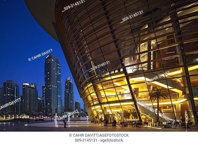 The Dubai Opera House at twilight, designed by the Architects Atkins, Downtown Dubai, Dubai, Dubayy, United Arab Emirates