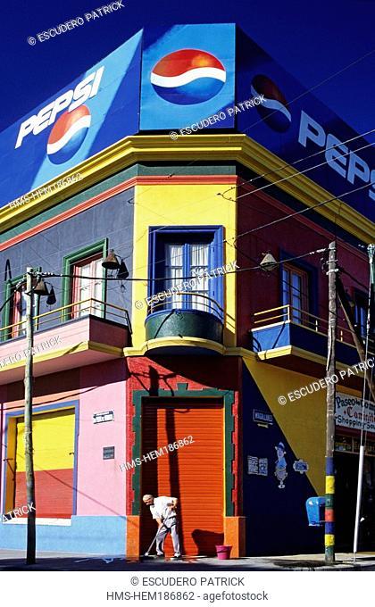 Argentina, Buenos Aires, La Boca District, colourful facade in Caminito Street