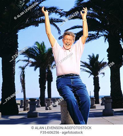 Happy Retired Man Outside