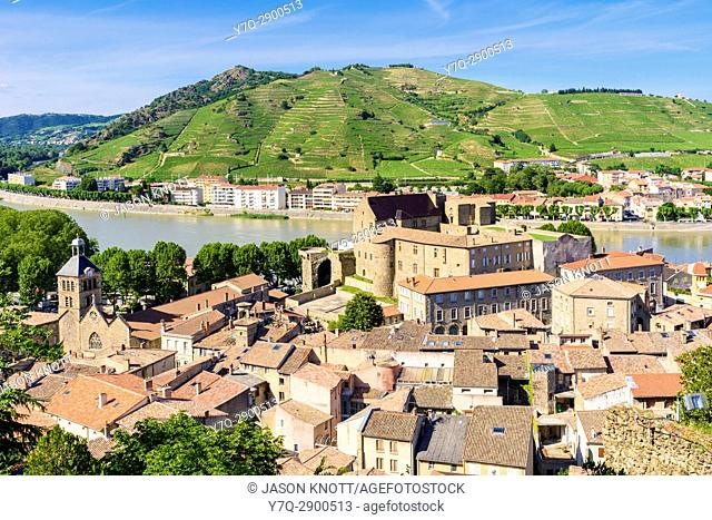 Tournon-sur-Rhone Town views and Tain-l'Hermitage on the far bank, in the Ardèche and Drôme respectively, Auvergne-Rhône-Alpes, France