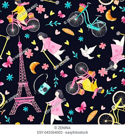 Beautiful vector seamless pattern with watercolor parisian life elements
