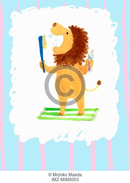 Illustration of a lion brushing its teeth