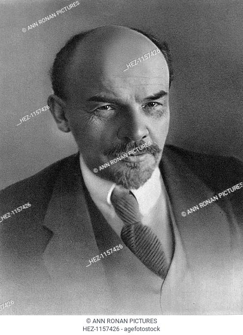 Vladimir Ilyich Ulyanov (Lenin), Russian Bolshevik revolutionary, c1917. Lenin (1870-1924) became leader of the Bolshevik faction of the Russian Social...