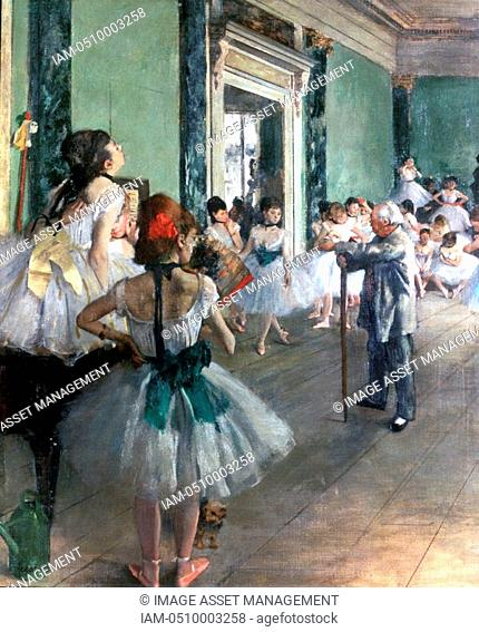 The Dance Class', 1874. Ballet dancers in tutus being tutored by the ballet master with his stick. Edgar Degas 1834-1917. French Impressionist painter