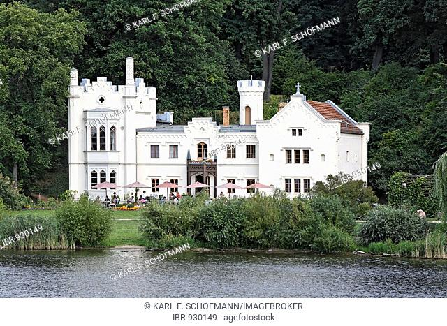 Small castle, cafe, on the bank of the Tiefer See Lake, Babelsberg park, Potsdam, Brandenburg, Germany, Europe