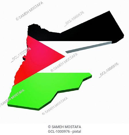 map and flag of Jordan