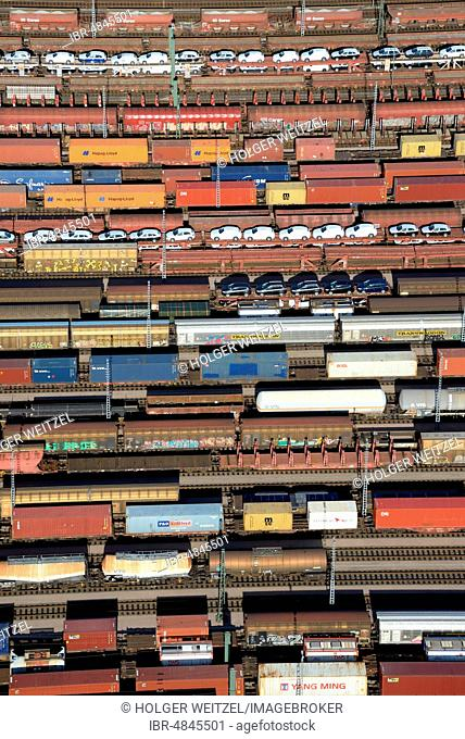 Aerial view, freight trains, waggons at Maschen marshalling yard, Lower Saxony, Germany
