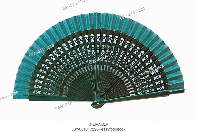 Spanish hand fan, elegant fan, isolated on white