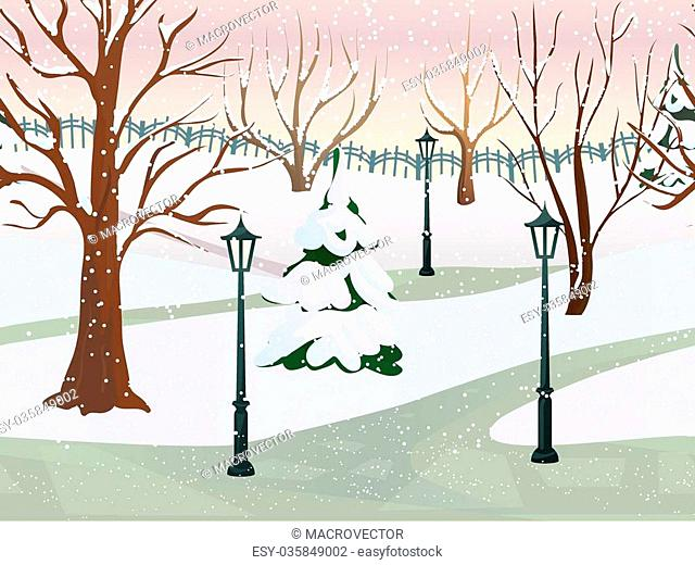 Winter park 2d game landscape with trees covered with snow flat vector illustration