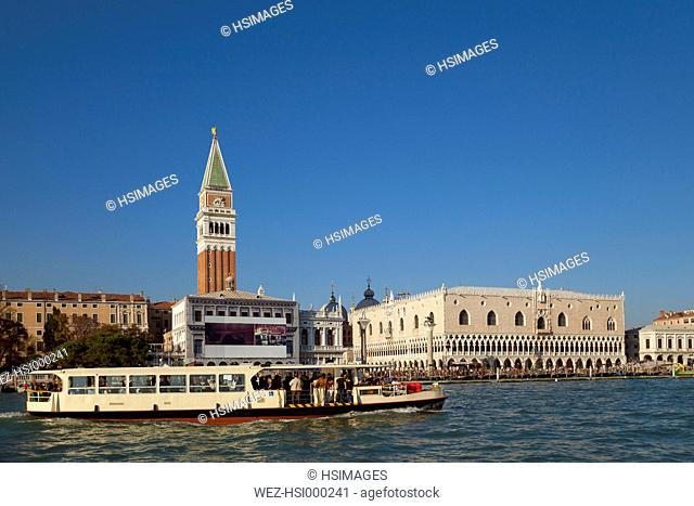 Italy, Venice, Vaporetto on Canal Grande at St Mark's Square