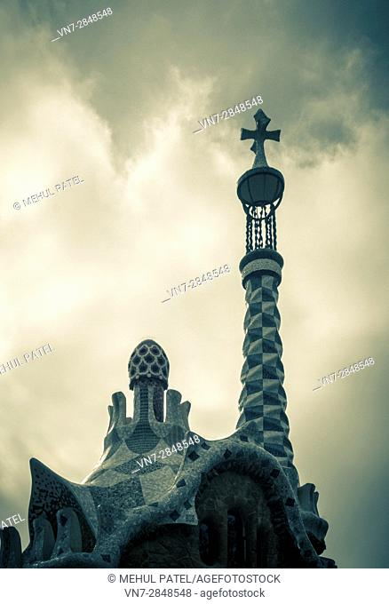 Roof of Porter's Lodge in Parc Guell, Barcelona, Catalonia, Spain, Europe. The roof was designed by well known Catalan architect Antoni Gaudi