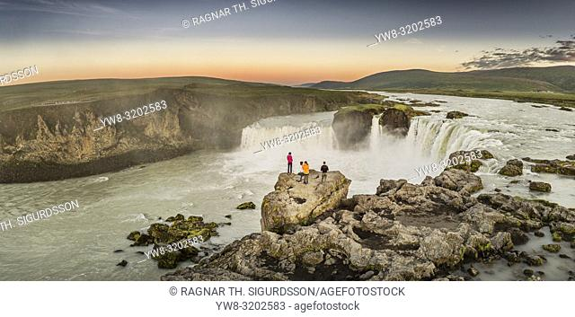 Aerial - Godafoss Waterfalls, Iceland. This image was shot using a drone