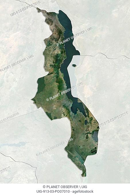 Satellite view of Malawi (with country boundaries and mask). This image was compiled from data acquired by Landsat satellites