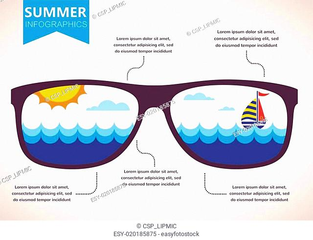 summer infographics. sunglasses with ocean view