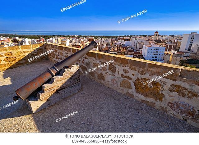 Guardamar del Segura Castle cannon in Alicante of Spain