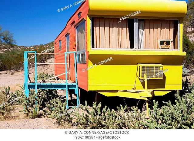 Abandoned house trailer, Arizona NPR