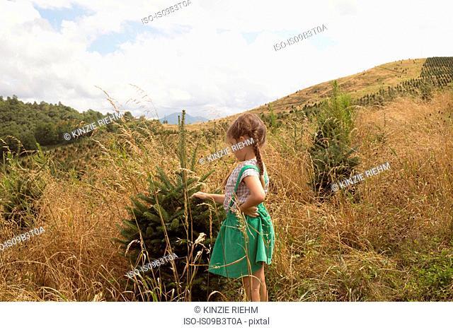 Young girl exploring outdoors