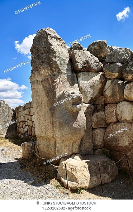 Picture & image of the Hittite lion sculpture of the Lion Gate. Hattusa (also Ḫattuša or Hattusas) late Anatolian Bronze Age capital of the Hittite Empire