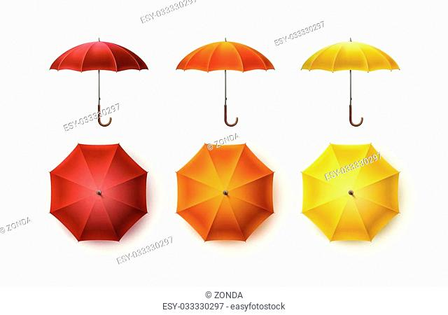 Vector Set of Yellow Orange Red Blank Classic Opened Round Rain Umbrella Parasol Sunshade Top Front Side View Mock up Close up Isolated on White Background