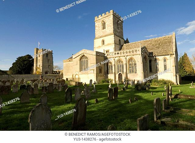St Michael's church and Pope's tower, named after the poet Alexander Pope, Stanton Harcourt, Oxfordshire, England, Europe