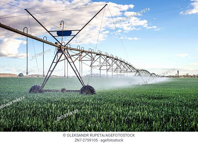 Irrigation system in action at a farm near Lusaka, Zambia