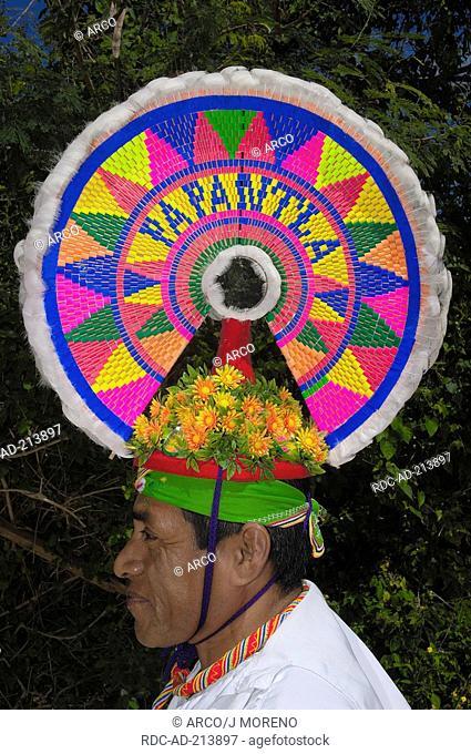 Papantla Flying Man, with head decoration, Xcaret Ecological Park, near Playa del Carmen, Riviera Maya, Quintana Roo, Yucatan, Mexico, side