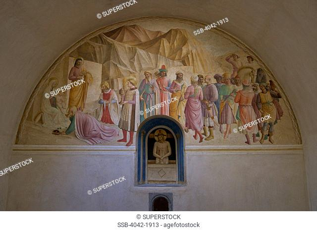 Adoration of the Magi, by Benozzo Gozzoli and Fra Angelico, 1438-1445, dormitory cell number 39, Convent of San Marco, Florence, Tuscany, Italy, Europe