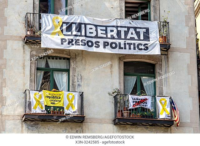Flags and banners in support of freeing political prisoners in Barcelona ,Spain