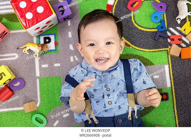 Portrait of smiling baby boy