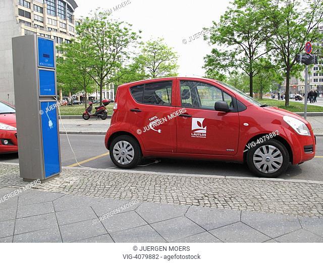 GERMANY , BERLIN, Electric car and charging station Potsdamer Platz - Berlin, GERMANY, 28/04/2011