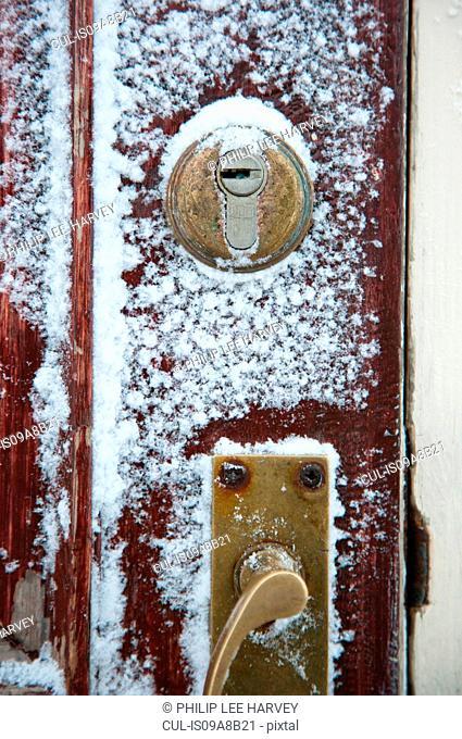 Frozen door locks on the Noorderlicht, a Dutch Schooner. Each year the Nooderlicht is frozen into the ice in Spitsbergen