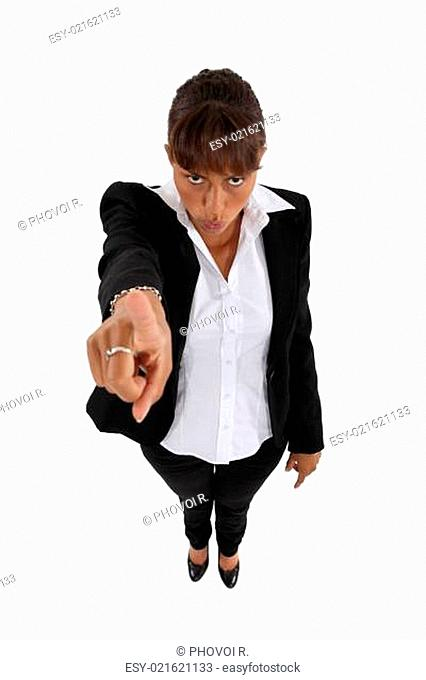 Woman threatening with her finger isolated on white background