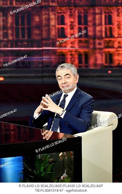 The actor Rowan Atkinson during the tv show Che tempo che fa, Milan, ITALY-07-10-2018
