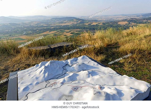 France, Puy de Dome, Corrent, Gondole and Gergovie oppidums map, Allier valley seen from Gergovie Plateau, historic site of the battle between the Averni and...