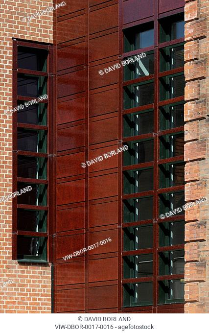 New Wing Pallant House Gallery, Long & Kentish / Colin St John Wilson, Chichester UK, 2006, Detail of west facade seen from North Pallant