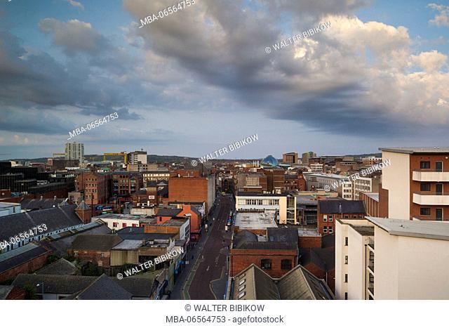 UK, Northern Ireland, Belfast, elevated view of Castle Street, dawn