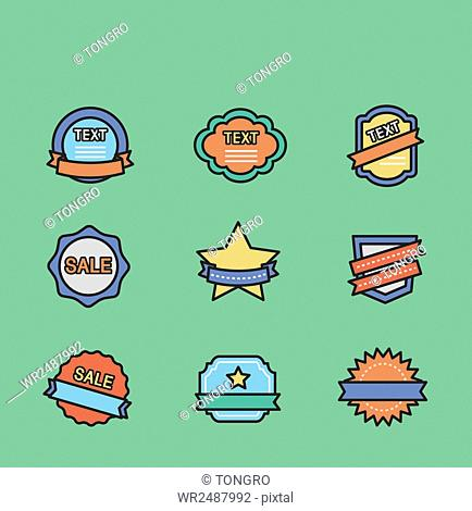 Various icons related to labels