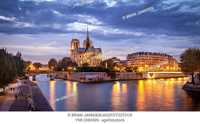 Cathedral Notre Dame and River Seine, Paris France