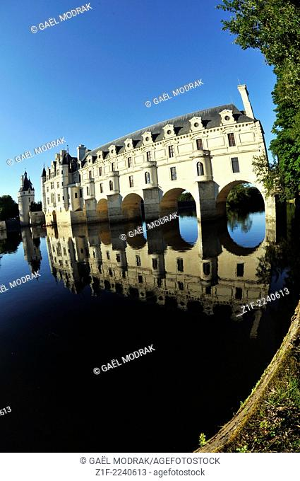 Castle of Chenonceau on the Cher river in France