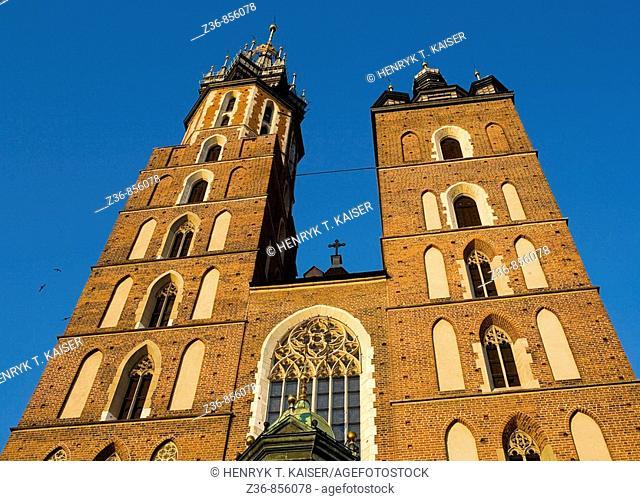 Poland Krakow Church of St Mary Towers