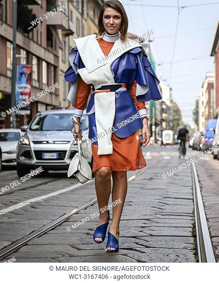 MILAN, Italy- September 19 2018: Landiana Cerciu on the street during the Milan Fashion Week
