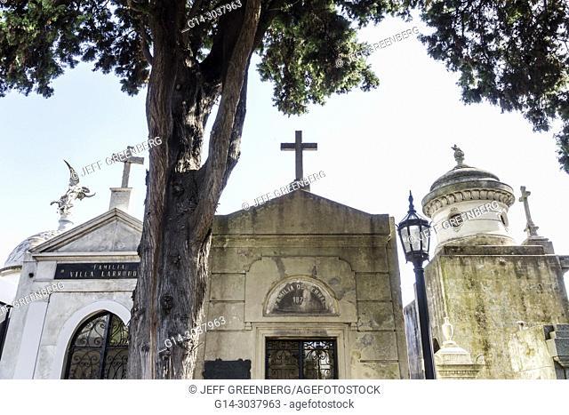 Argentina, Buenos Aires, Cementerio de la Recoleta Cemetery, historic, tombs statues, mausoleums, marble, Hispanic, Argentinean Argentinian Argentine South...