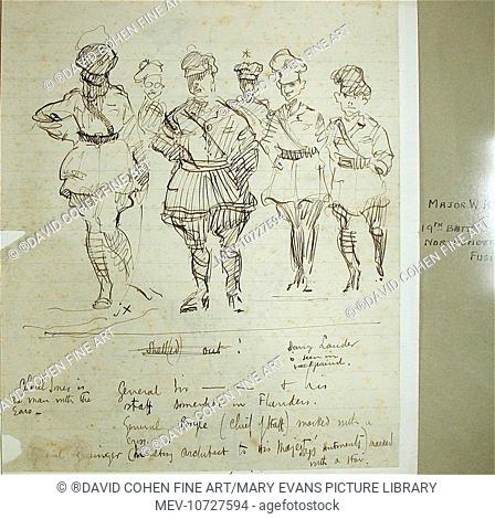 A collection of First World War pen and ink and pencil sketches drawn by the artist when stationed in France and Flanders with the Northumberland Fusiliers