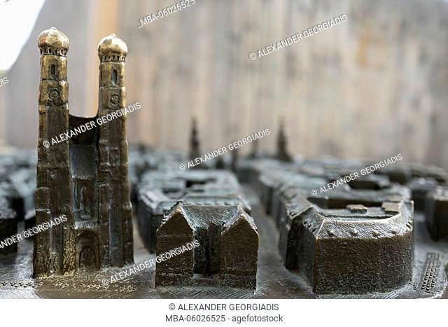 Bronze model of the city of Munich, cathedral, Church of Our Lady