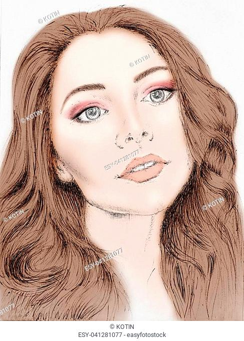 Sketch of beautiful young girl. Face chart for makeup. Template