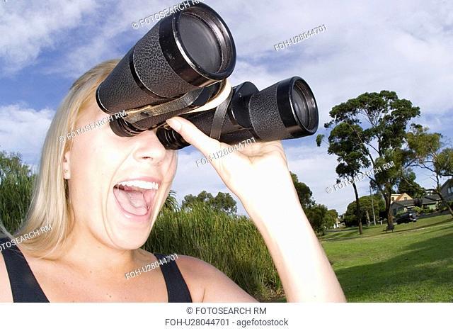 binoculars, female, pair, large, searching, woman