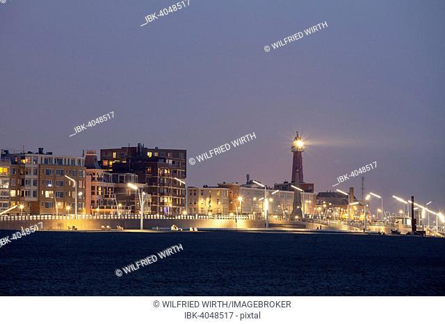 Beach promenade with lighthouse, Scheveningen, The Hague, Holland, The Netherlands