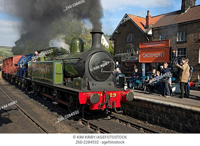 LH and JC tank engine no. 29 pulling freight at the Autumn Steam Gala Grosmont North York Moors National Park North Yorkshire England UK United Kingdom GB Great...