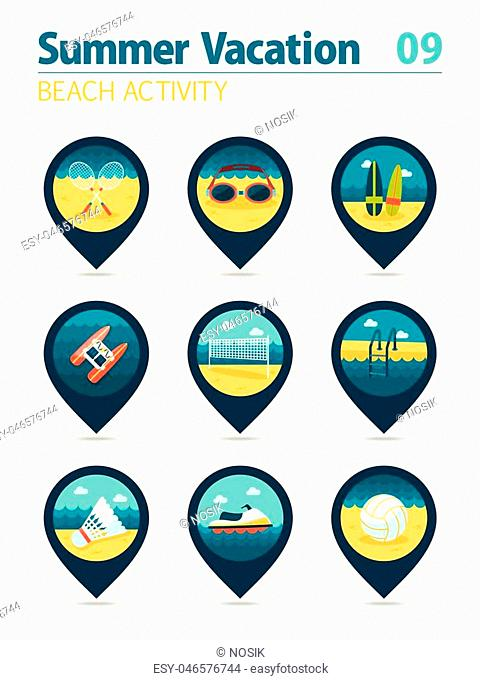 Beach activity vector pin map icon set. Summer time Map pointer. Map markers. Vacation, eps 10